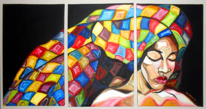 Colourful Life by Nina fabunmi, Acrylic on Canvas, 5x2.5 ft, 2011