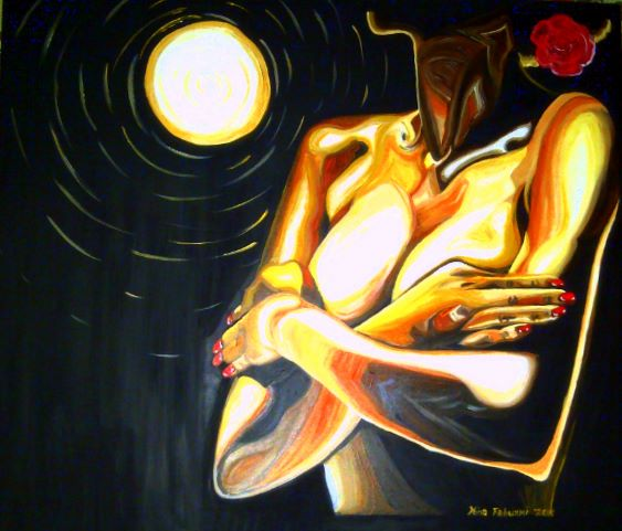 Under the Golden Moon , Acrylic on Canvas 38x33 inches by Nina Fabunmi 2011